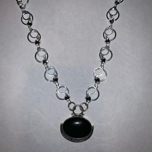 ONE OF A KIND: Onyx Pendant Woven Loop Jump Chain